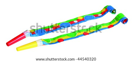 Party Blowers photo on the white background - stock photo