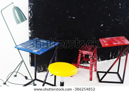 party, blue, red, yellow, board, chalk office workshop training school class room space - stock photo