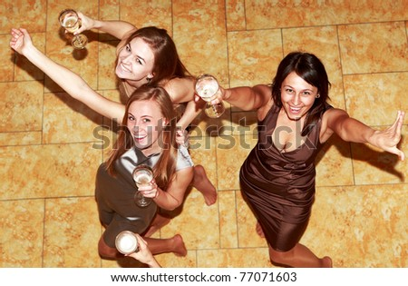 party bridesmaids before the wedding - stock photo