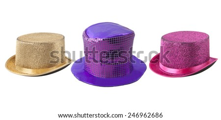 Party colored silk hats isolated on white background - with PS paths. - stock photo