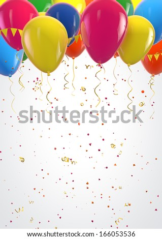 Party colorful balloons and confetti festive background. Clipping path included for easy selection. - stock photo