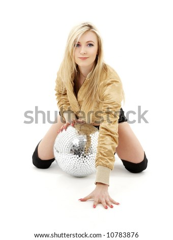 party dancer girl in golden jacket with disco ball - stock photo