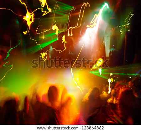 Party. Dancing people. A party in a nightclub. Square. - stock photo