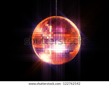 Party disco mirrored ball on chain - stock photo