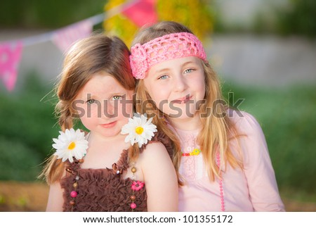 PARTY FASHION KID SISTERS - stock photo