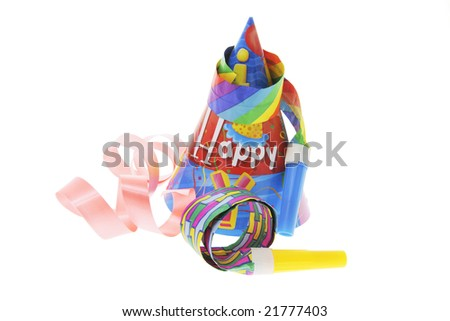 Party Favors and Ribbon on Isolated White Background - stock photo