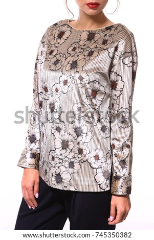 party formal silk pring blouse close up photo on model isolated on white
