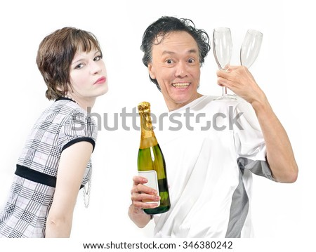 party friends meeting for social happy hour with drinks of champagne for two . white background