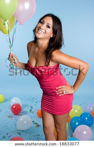 Party Girl Holding Balloons - stock photo
