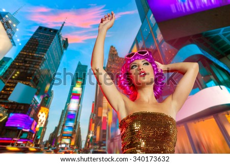 Party girl pink wig dancing in Times Square of New York Photomount