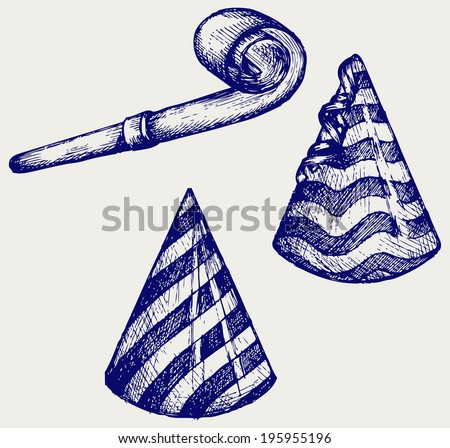 Party hat and noisemaker. Doodle style. Raster version - stock photo