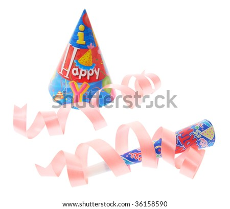 Party Hat and Trumpet on White Background - stock photo