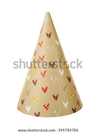 Party hat with hearts, isolated on white - stock photo
