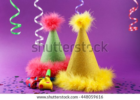 Party hats cone on color background - stock photo
