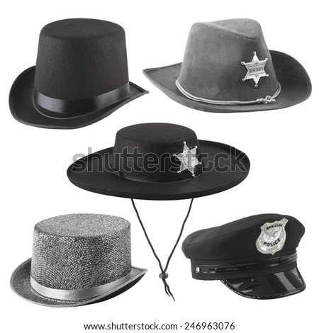 Party hats - sheriff hats, police hat, silk hats -  isolated on white background - with PS paths. - stock photo