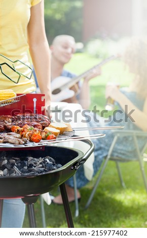 Party in a garden with guitar and grill - stock photo