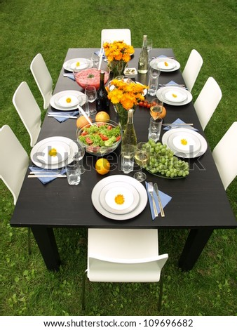 Party in garden on a green grass - stock photo