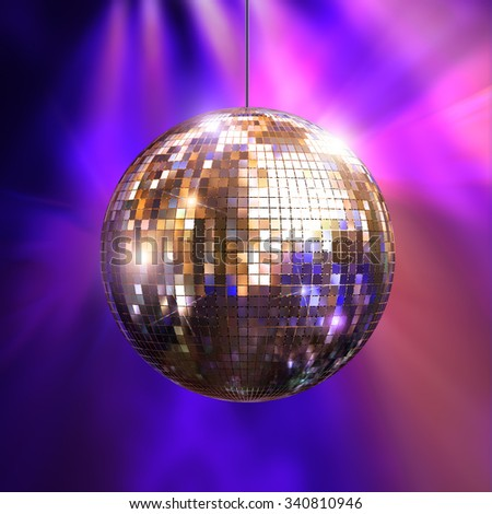 Party lights disco ball, 3d illustration - stock photo