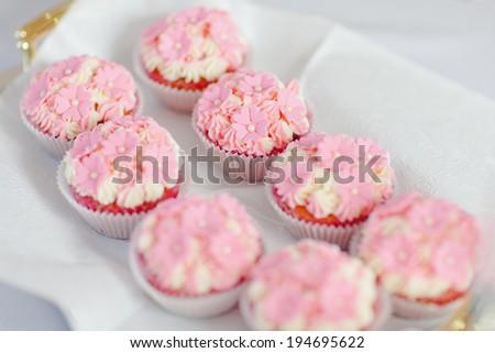 Party mini cakes. Cupcakes - stock photo