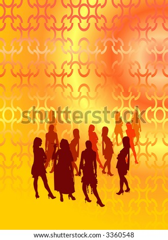 Party people at the open area with silhouettes. - stock photo