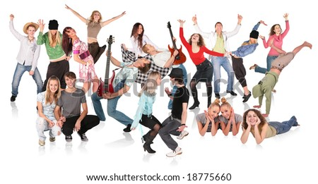party people dancing group - stock photo