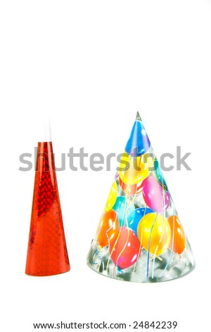 Party squawkers isolated against a white background - stock photo