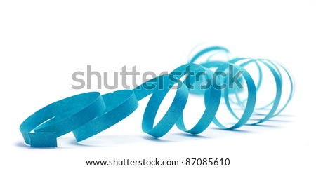 party streamer over a white background with blue color - stock photo