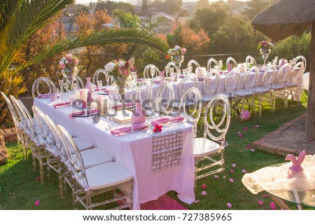 Party Tables Chairs Seating Pink Decorations Stock Photo