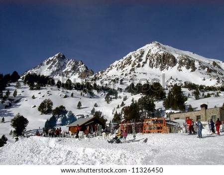 Pas De La Casa ski resort in winter in French Pyrenees mountains.
