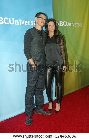 PASADENA, CA - JAN. 7: Manny Montana and Vanessa Ferlito arrive at the NBCUniversal 2013 Winter Press Tour at Langham Huntington Hotel & Spa on January 7, 2013 in Pasadena, California - stock photo