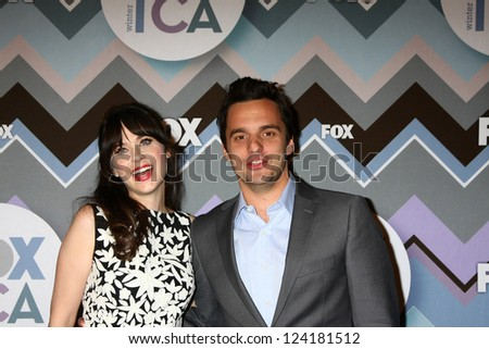 PASADENA, CA - JAN 8:  Zooey Deshanel, Jake Johnson attends the FOX TV 2013 TCA Winter Press Tour at Langham Huntington Hotel on January 8, 2013 in Pasadena, CA - stock photo