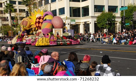 PASADENA, CA - JANUARY 1: The city of Alhambra building friendships across the pacific float at the 122nd tournament of roses Rose Parade on January 1, 2011 in Pasadena California - stock photo