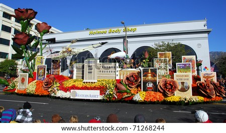 PASADENA, CA - JANUARY 1: The Western Asset Rose Bowl Legacy float at the 122nd tournament of roses Rose Parade on January 1, 2011 in Pasadena California