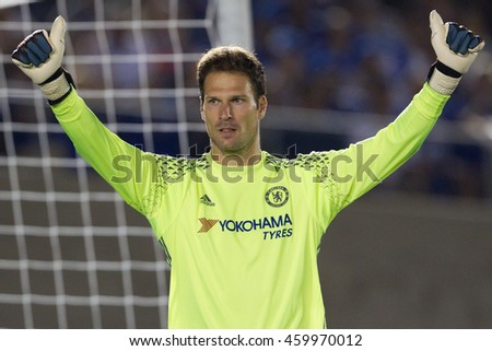 PASADENA, CA - JULY 27: Asmir Begovic during the 2016 ICC game between Chelsea & Liverpool on July 27th 2016 at the Rose Bowl in Pasadena, Ca.