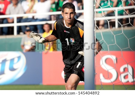 PASADENA, CA - JULY 7: Jaime Penedo #1 of Panama during the 2013 CONCACAF Gold Cup game between Mexico and Panama on July 7, 2013 at the Rose Bowl in Pasadena, Ca. - stock photo