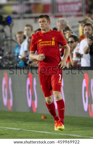PASADENA, CA - JULY 27: James Milner during the 2016 ICC game between Chelsea & Liverpool on July 27th 2016 at the Rose Bowl in Pasadena, Ca.