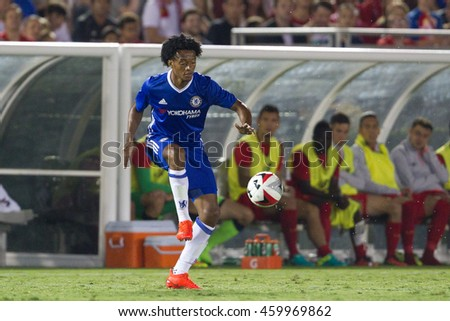 PASADENA, CA - JULY 27: Juan Cuadrado during the 2016 ICC game between Chelsea & Liverpool on July 27th 2016 at the Rose Bowl in Pasadena, Ca.