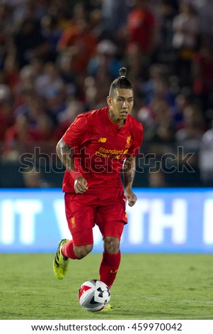 PASADENA, CA - JULY 27: Roberto Firmino during the 2016 ICC game between Chelsea & Liverpool on July 27th 2016 at the Rose Bowl in Pasadena, Ca.
