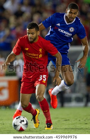 PASADENA, CA - JULY 27: Ruben Loftus-Cheek & Kevin Stewart during the 2016 ICC game between Chelsea & Liverpool on July 27th 2016 at the Rose Bowl in Pasadena, Ca.