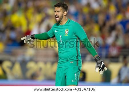 PASADENA, CA - JUNE 4: Alisson during the COPA America game between Brazil & Ecuador on June 4th 2016 at the Rose Bowl in Pasadena, Ca. - stock photo