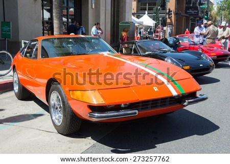 Pasadena, CA - USA - April 26, 2015: Ferrari 365 GTB4 car on display at the 8th Annual Ferrari Concorso car event - stock photo