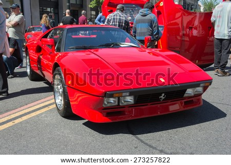 Pasadena, CA - USA - April 26, 2015: Ferrari GTO car on display car on display at the 8th Annual Ferrari Concorso car event - stock photo