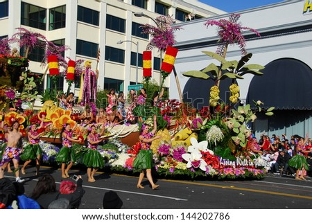 PASADENA, CA/USA - JANUARY 1: Dole hawaii style  Living Well In Paradise float at the 122nd tournament of roses Rose Parade on January 1 2011 in Pasadena California - stock photo