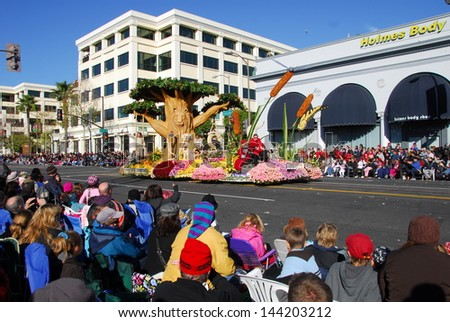 PASADENA, CA/USA - JANUARY 1: Lions Club International Backyard Fun float at the 122nd tournament of roses Rose Parade on January 1 2011 in Pasadena California - stock photo