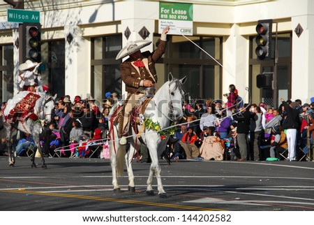 PASADENA, CA/USA - JANUARY 1: Martinez Family Horse Rider at the 122nd tournament of roses Rose Parade on January 1 2011 in Pasadena California - stock photo