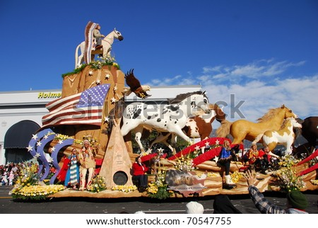 PASADENA, CA/USA - JANUARY 1: Mustang Monument float at the 122nd tournament of roses Rose Parade on January 1, 2011 in Pasadena California - stock photo