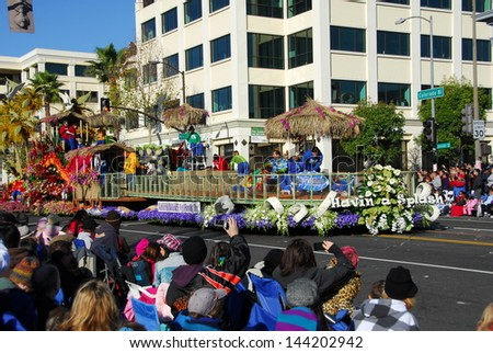 PASADENA, CA/USA - JANUARY 1: Natural Balance Friends having a splash float at the 122nd tournament of roses Rose Parade on January 1 2011 in Pasadena California - stock photo