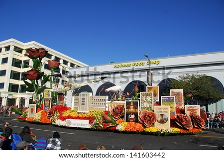 PASADENA, CA/USA - JANUARY 1: Western Asset Rose Bowl Legacy float at the 122nd tournament of roses Rose Parade on January 1 2011 in Pasadena California - stock photo