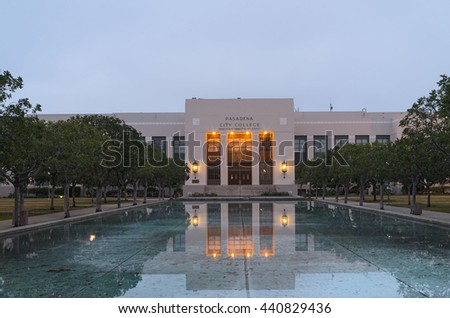 PASADENA, CA/USA - MAY 27, 2016: Grand entrance to the Pasadena City College. Pasadena City College was founded in 1924 as Pasadena Junior College.