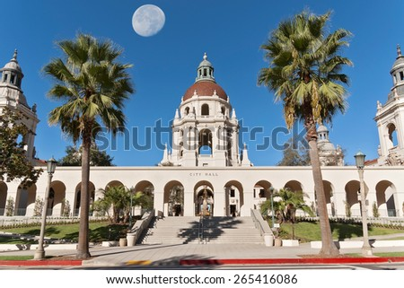 Pasadena City Hall east entrance. The moon was shot separately and digitally merged. The Pasadena City Hall is an iconic building in Pasadena, California, USA.  - stock photo